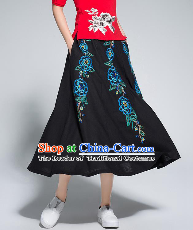 Traditional Ancient Chinese National Pleated Skirt Costume, Elegant Hanfu Linen Embroidery Long Black Dress, China Tang Suit Big Swing Bust Skirt for Women