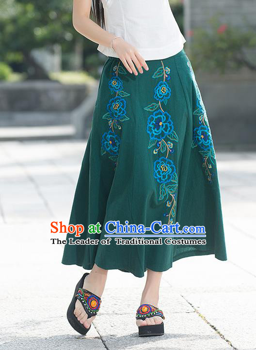 Traditional Ancient Chinese National Pleated Skirt Costume, Elegant Hanfu Linen Embroidery Long Green Dress, China Tang Suit Big Swing Bust Skirt for Women