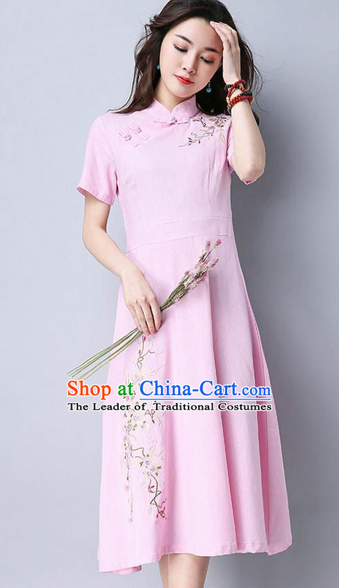 Traditional Ancient Chinese National Costume, Elegant Hanfu Mandarin Qipao Embroidery Pink Dress, China Tang Suit Chirpaur Upper Outer Garment Elegant Dress Clothing for Women