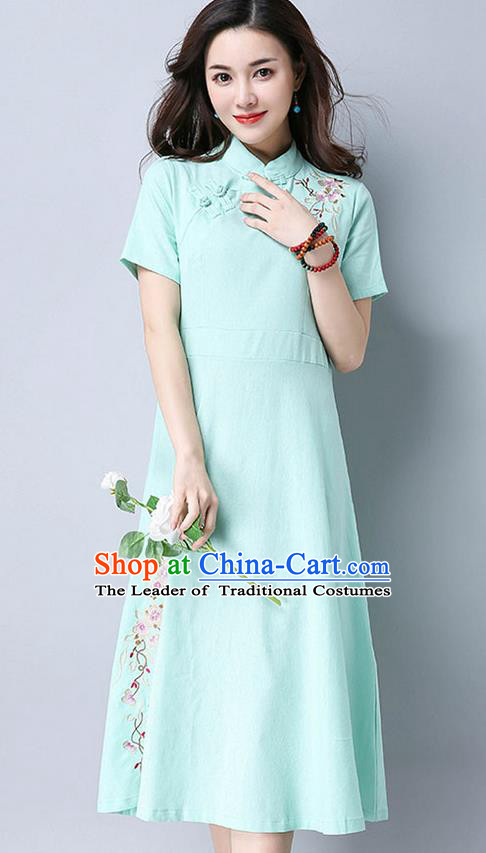 Traditional Ancient Chinese National Costume, Elegant Hanfu Mandarin Qipao Embroidery Blue Dress, China Tang Suit Chirpaur Upper Outer Garment Elegant Dress Clothing for Women