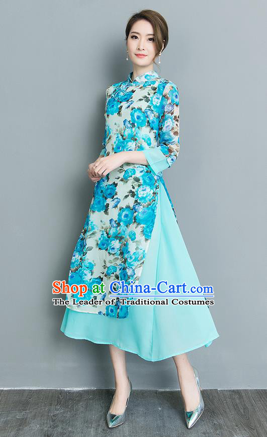 Traditional Ancient Chinese National Costume, Elegant Hanfu Mandarin Qipao Blue Dress, China Tang Suit Chirpaur Upper Outer Garment Elegant Dress Clothing for Women