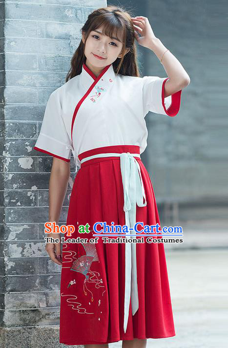 71d6c5a2e Traditional Ancient Chinese Costume, Elegant Hanfu Clothing Embroidered  Blouse and Dress, China Han Dynasty Princess Elegant Blouse and Skirt Complete  Set ...