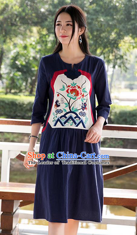 Traditional Ancient Chinese National Costume, Elegant Hanfu Patch Embroidery Navy Dress, China Tang Suit Chirpaur Upper Outer Garment Elegant Dress Clothing for Women