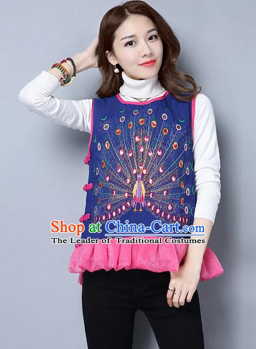 Traditional Chinese Costume, Elegant Hanfu Clothing Embroidered Peacock Vests for Women