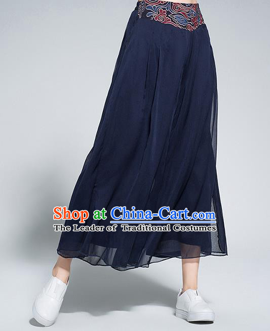 Traditional Chinese National Costume Loose Pants, Elegant Hanfu Embroidered Waistband Chiffon Navy Wide leg Pants, China Ethnic Minorities Tang Suit Folk Dance Ultra-wide-leg Trousers for Women
