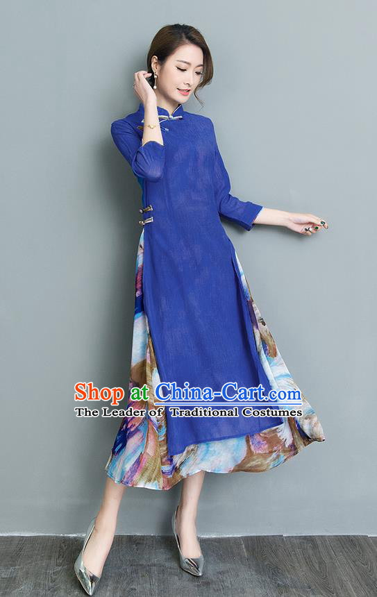 Traditional Ancient Chinese National Costume, Elegant Hanfu Mandarin Qipao Double-deck Printing Blue Dress, China Tang Suit Chirpaur Republic of China Cheongsam Upper Outer Garment Elegant Dress Clothing for Women