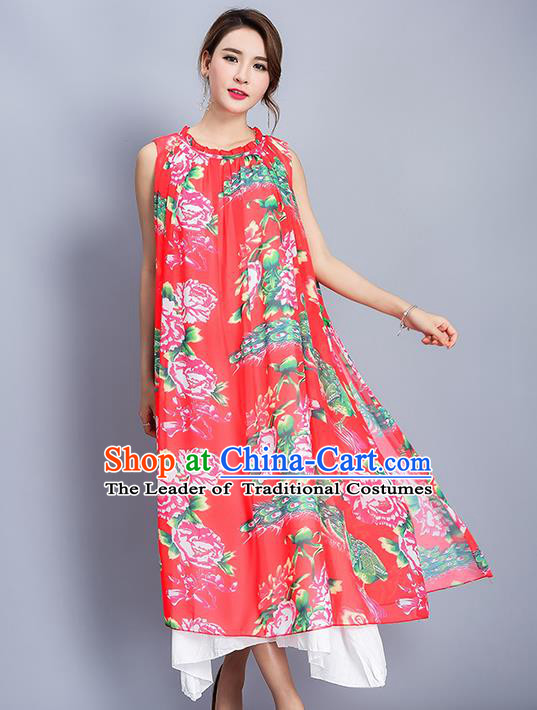 Traditional Ancient Chinese National Costume, Elegant Hanfu Mandarin Qipao Printing Peony Folk Dance Big Swing Red Dress, China Tang Suit National Minority Upper Outer Garment Elegant Dress Clothing for Women