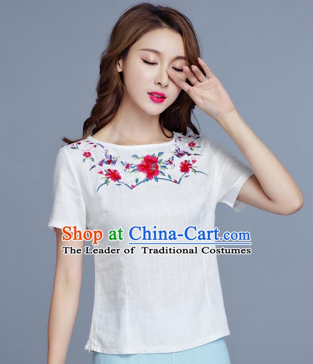 Traditional Chinese National Costume, Elegant Hanfu Embroidery Flowers White Base Shirt, China Tang Suit Republic of China Chirpaur Blouse Cheong-sam Upper Outer Garment Qipao Shirts Clothing for Women