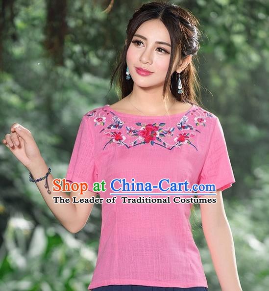Traditional Chinese National Costume, Elegant Hanfu Embroidery Flowers Pink Base Shirt, China Tang Suit Republic of China Chirpaur Blouse Cheong-sam Upper Outer Garment Qipao Shirts Clothing for Women