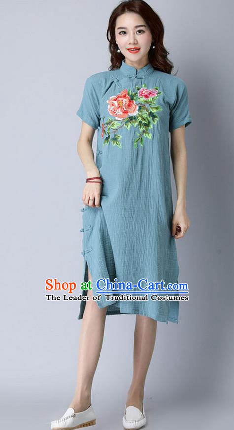 Traditional Ancient Chinese National Costume, Elegant Hanfu Stand Collar Mandarin Qipao Embroidery Slant Opening Blue Dress, China Tang Suit Cheongsam Upper Outer Garment Elegant Dress Clothing for Women