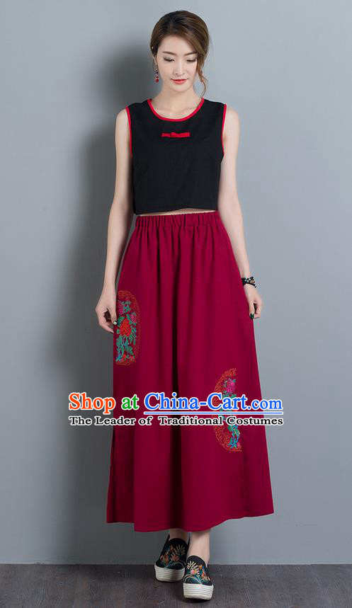 Traditional Ancient Chinese National Pleated Skirt Costume, Elegant Hanfu Embroidery Long Red Dress, China Tang Suit Folk Dance Bust Skirt for Women