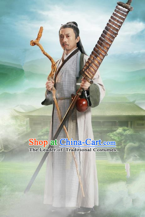 Traditional Ancient Chinese Swordsman Costume, Chinese Jiang hu Taoist Priest Dress, Cosplay Chinese Television Drama Jade Dynasty Qing Yun Faction Old Michinaga Hanfu Clothing for Men