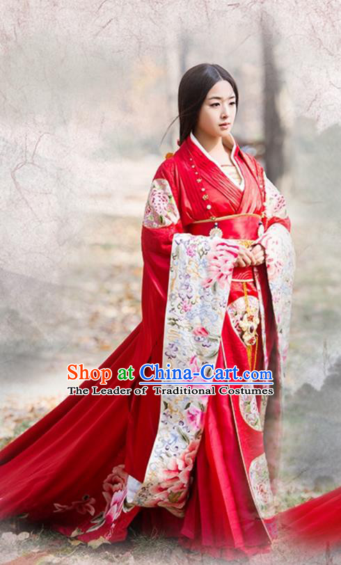 Traditional Ancient Chinese Elegant Wedding Costume, Chinese Northern Dynasty Imperial Consort Costume Bride Dress, Cosplay Chinese Television Drama Alegend of Pringess Lanling Princess Consort Hanfu Trailing Embroidery Clothing for Women