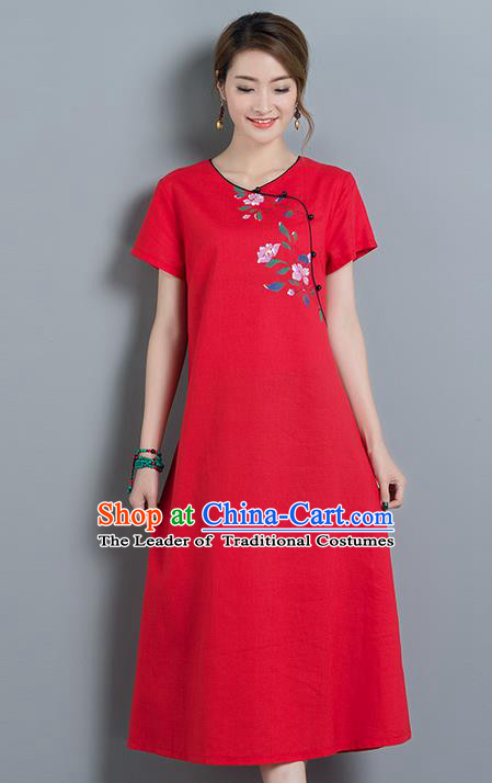 Traditional Ancient Chinese National Costume, Elegant Hanfu Mandarin Qipao Printing Red Dress, China Tang Suit Chirpaur Upper Outer Garment Elegant Dress Clothing for Women