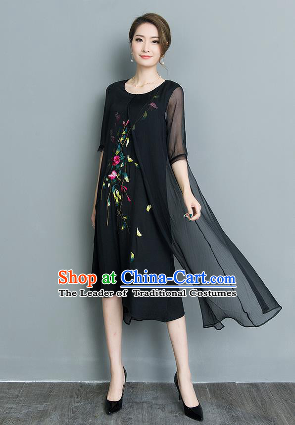Traditional Ancient Chinese National Costume, Elegant Hanfu Mandarin Qipao Embroidery Double-deck Black Silk Dress, China Tang Suit Upper Outer Garment Elegant Dress Clothing for Women