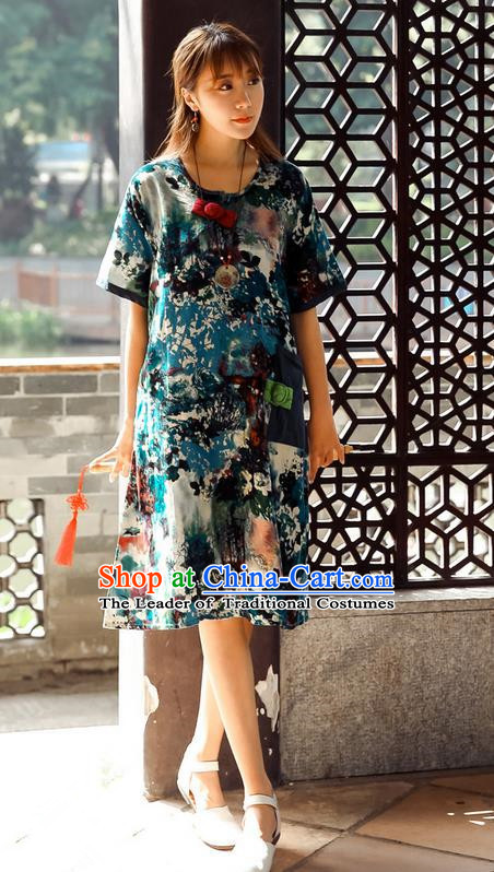 Traditional Ancient Chinese National Costume, Elegant Hanfu Mandarin Qipao Ink Painting Peacock Blue Dress, China Tang Suit Chirpaur Upper Outer Garment Elegant Dress Clothing for Women