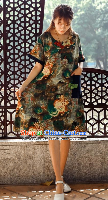 Traditional Ancient Chinese National Costume, Elegant Hanfu Mandarin Qipao Ink Painting Brown Dress, China Tang Suit Chirpaur Upper Outer Garment Elegant Dress Clothing for Women