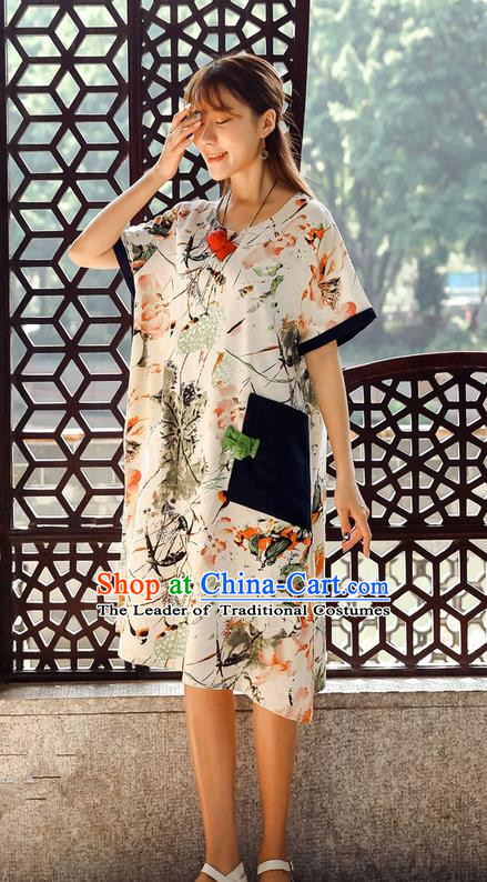 Traditional Ancient Chinese National Costume, Elegant Hanfu Mandarin Qipao Ink Painting White Dress, China Tang Suit Chirpaur Upper Outer Garment Elegant Dress Clothing for Women