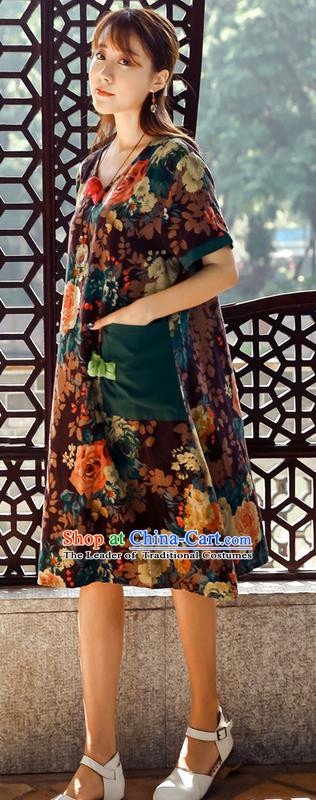 Traditional Ancient Chinese National Costume, Elegant Hanfu Mandarin Qipao Ink Painting Coffee Dress, China Tang Suit Chirpaur Upper Outer Garment Elegant Dress Clothing for Women