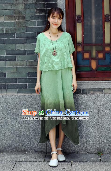 Traditional Chinese Costume, Elegant Hanfu Clothing Green Blouse and Dress, China Tang Suit Blouse and Skirt Complete Set for Women