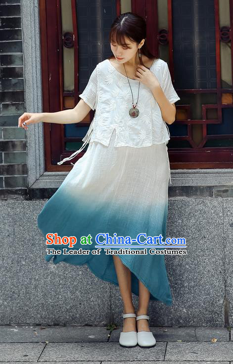 Traditional Chinese Costume, Elegant Hanfu Clothing White Blouse and Dress, China Tang Suit Blouse and Skirt Complete Set for Women