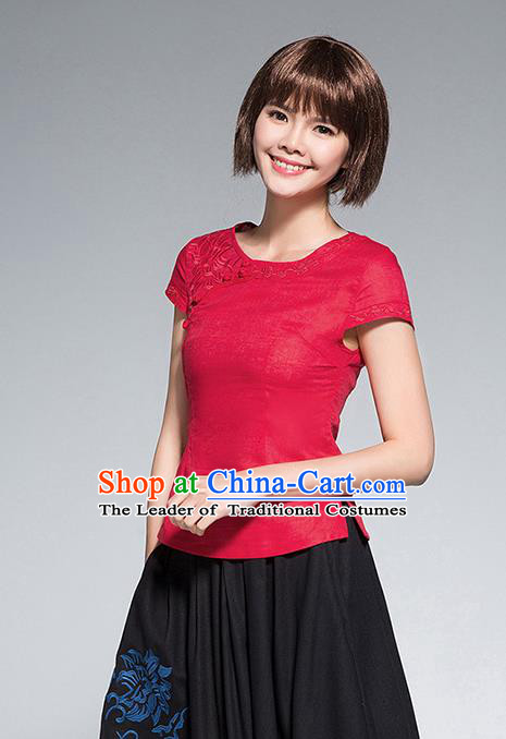 Traditional Chinese National Costume, Elegant Hanfu Embroidery Slant Opening Red Shirt, China Tang Suit Republic of China Schoolgirl Chirpaur Blouse Cheong-sam Upper Outer Garment Qipao Shirts Clothing for Women