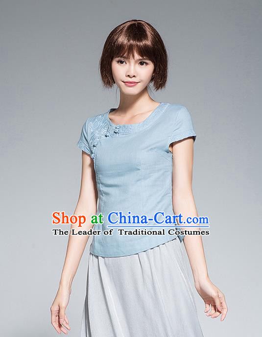 Traditional Chinese National Costume, Elegant Hanfu Embroidery Slant Opening Blue Shirt, China Tang Suit Republic of China Schoolgirl Chirpaur Blouse Cheong-sam Upper Outer Garment Qipao Shirts Clothing for Women