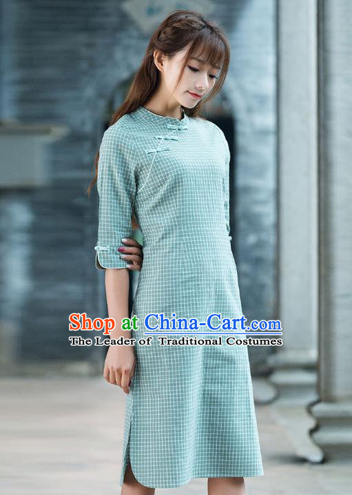 Traditional Ancient Chinese National Costume, Elegant Hanfu Mandarin Qipao Slant Opening Blue Dress, China Tang Suit Chirpaur Republic of China Cheongsam Upper Outer Garment Elegant Dress Clothing for Women