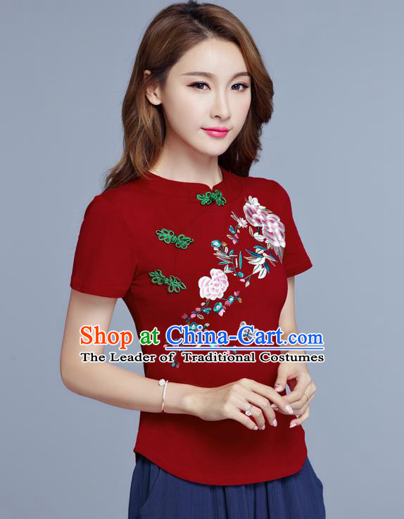 Traditional Chinese National Costume, Elegant Hanfu Embroidery Flowers Slant Opening Red T-Shirt, China Tang Suit Plated Buttons Chirpaur Blouse Cheong-sam Upper Outer Garment Qipao Shirts Clothing for Women