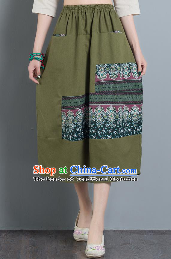Traditional Ancient Chinese National Pleated Skirt Costume, Elegant Hanfu Embroidery Long Green Buds Skirt, China Tang Suit Bust Skirt for Women