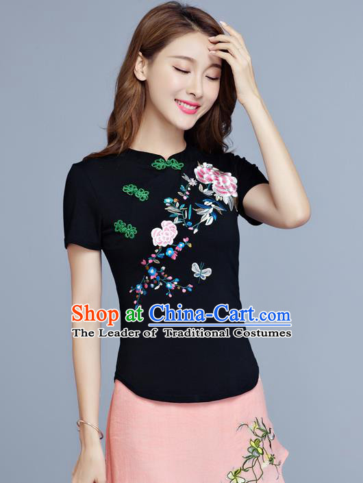 Traditional Chinese National Costume, Elegant Hanfu Embroidery Flowers Slant Opening Black T-Shirt, China Tang Suit Plated Buttons Chirpaur Blouse Cheong-sam Upper Outer Garment Qipao Shirts Clothing for Women