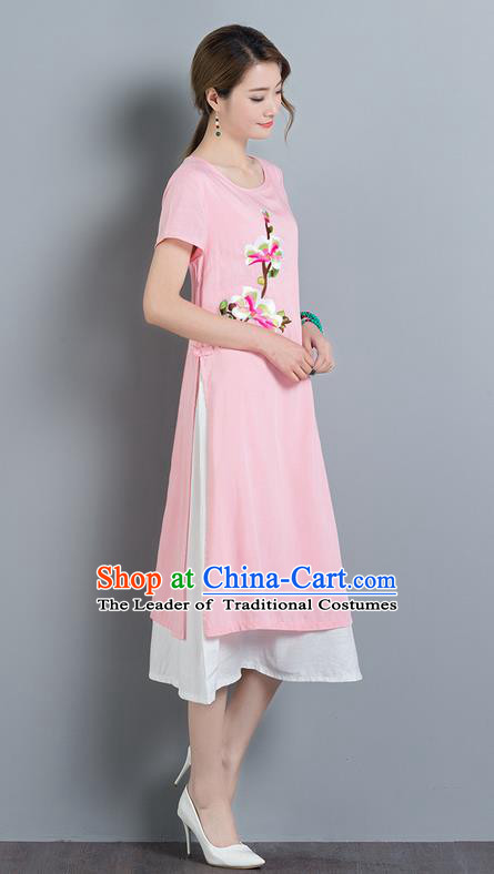 Traditional Ancient Chinese National Costume, Elegant Hanfu Mandarin Qipao Linen Embroidery Pink Dress, China Tang Suit Cheongsam Elegant Dress Clothing for Women