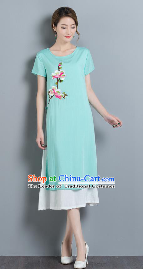 Traditional Ancient Chinese National Costume, Elegant Hanfu Mandarin Qipao Linen Embroidery Blue Dress, China Tang Suit Cheongsam Elegant Dress Clothing for Women