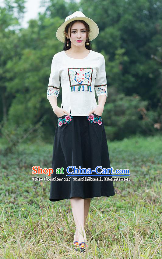 Traditional Ancient Chinese National Pleated Skirt Costume, Elegant Hanfu Linen Embroidery Black Dress, China Tang Suit Bust Skirt for Women