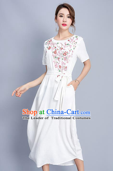 Traditional Ancient Chinese National Costume, Elegant Hanfu Embroidery White Dress, China Tang Suit Chirpaur Elegant Dress Clothing for Women