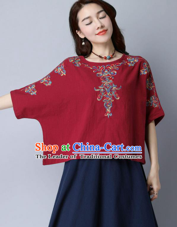 Traditional Chinese National Costume, Elegant Hanfu Embroidery Flowers Linen Red T-Shirt, China Tang Suit Blouse Cheong-sam Upper Outer Garment Qipao Shirts Clothing for Women
