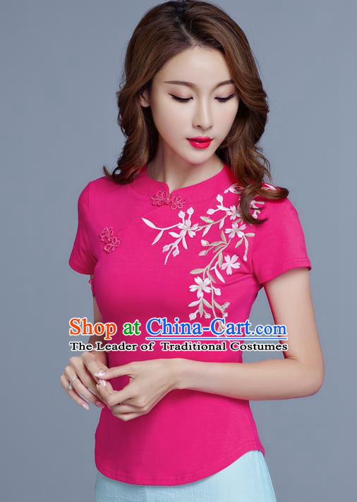 Traditional Chinese National Costume, Elegant Hanfu Embroidery Stand Collar Pink T-Shirt, China Tang Suit Cheong-sam Blouse Upper Outer Garment Qipao Shirts Clothing for Women