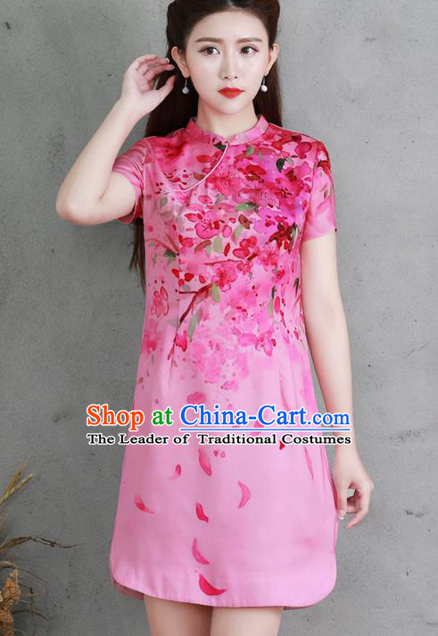 Traditional Ancient Chinese National Costume, Elegant Hanfu Mandarin Qipao Silk Printing Pink Dress, China Tang Suit Chirpaur Republic of China Cheongsam Elegant Dress Clothing for Women