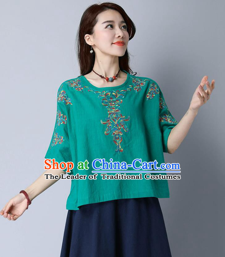 Traditional Chinese National Costume, Elegant Hanfu Embroidery Flowers Linen Green T-Shirt, China Tang Suit Blouse Cheong-sam Upper Outer Garment Qipao Shirts Clothing for Women
