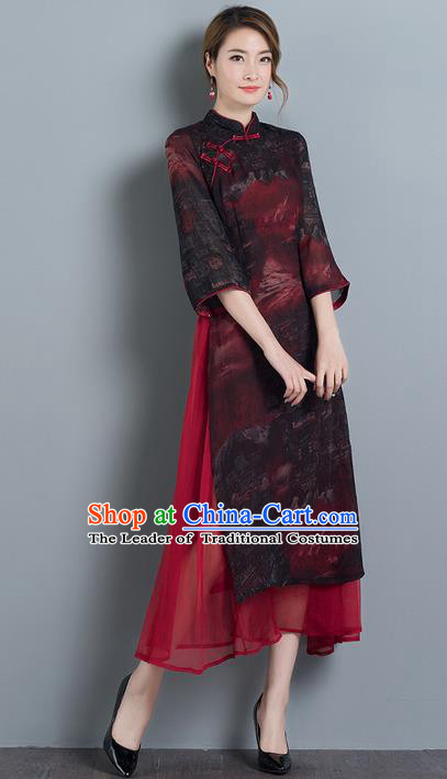 Traditional Ancient Chinese National Costume, Elegant Hanfu Mandarin Qipao Slant Opening Dress, China Tang Suit Chirpaur Republic of China Cheongsam Elegant Dress Clothing for Women