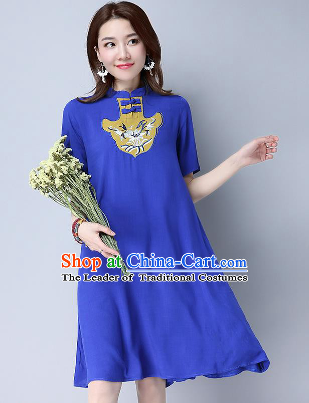 Traditional Ancient Chinese National Costume, Elegant Hanfu Mandarin Qipao Blue Dress, China Tang Suit Chirpaur Republic of China Cheongsam Elegant Dress Clothing for Women