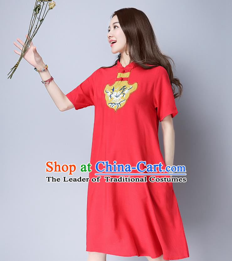Traditional Ancient Chinese National Costume, Elegant Hanfu Mandarin Qipao Red Dress, China Tang Suit Chirpaur Republic of China Cheongsam Elegant Dress Clothing for Women