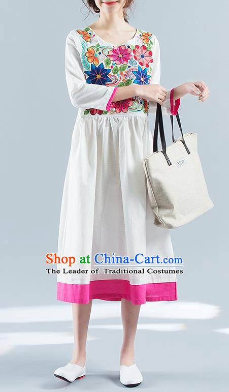 Traditional Ancient Chinese National Costume, Elegant Hanfu Mandarin Qipao Linen Embroidery White Dress, China Tang Suit Chirpaur National Minority Elegant Dress Clothing for Women