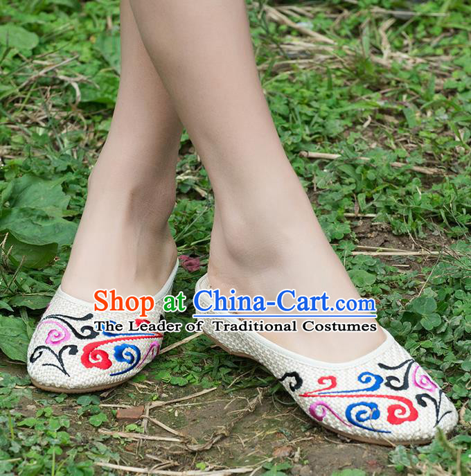 Traditional Chinese Shoes, China Handmade Embroidered White Slippers Shoes, Ancient Princess Shoes for Women