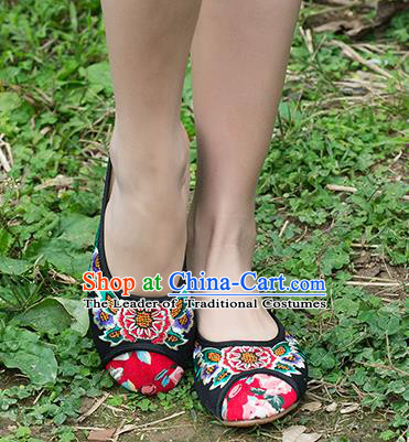 Traditional Chinese Shoes, China Handmade Embroidered Black Slippers Shoes, Ancient Princess Shoes for Women