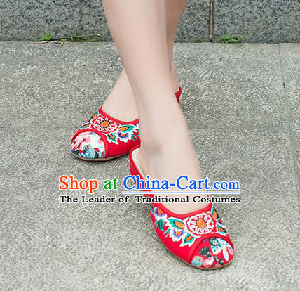 Traditional Chinese Shoes, China Handmade Embroidered Red Slippers Shoes, Ancient Princess Shoes for Women