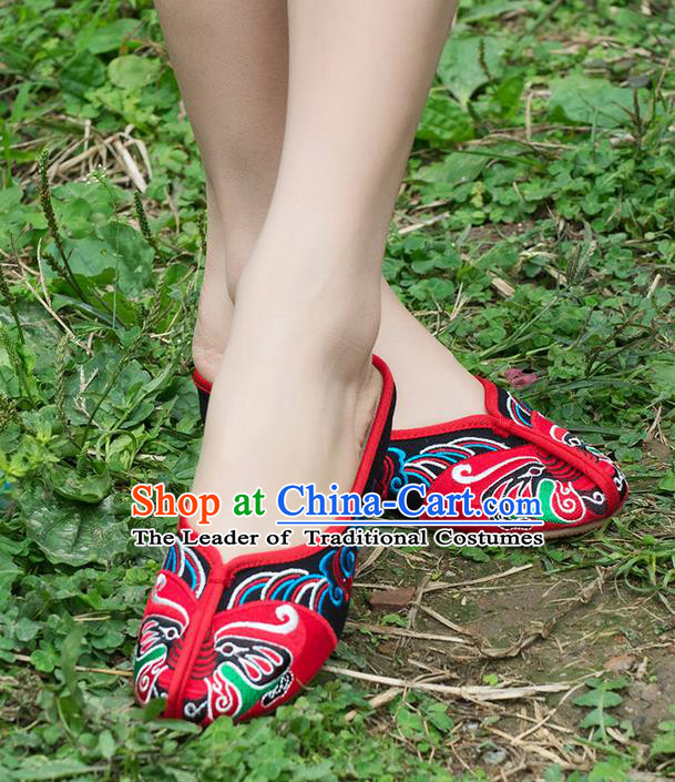 Traditional Chinese Shoes, China Handmade Embroidered Slippers Red Shoes, Ancient Princess Shoes for Women
