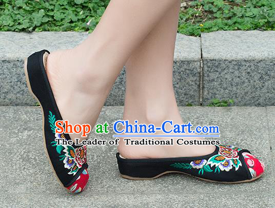 Traditional Chinese Shoes, China Handmade Embroidered Slippers Black Shoes, Ancient Princess Shoes for Women