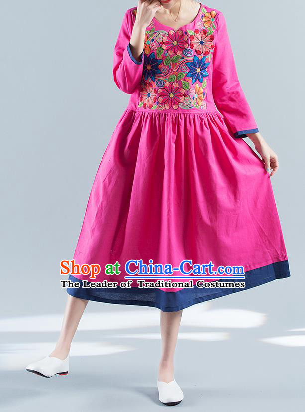 Traditional Ancient Chinese National Costume, Elegant Hanfu Mandarin Qipao Linen Embroidery Pink Dress, China Tang Suit Chirpaur National Minority Elegant Dress Clothing for Women