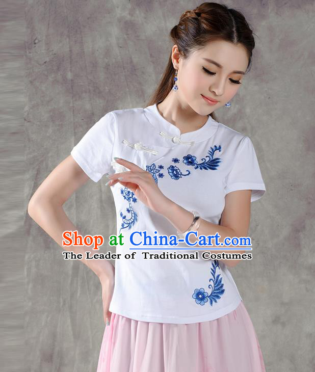 Traditional Chinese National Costume, Elegant Hanfu Embroidery Flowers Slant Opening White T-Shirt, China Tang Suit Stand Collar Plated Buttons Chirpaur Blouse Cheong-sam Upper Outer Garment Qipao Shirts Clothing for Women